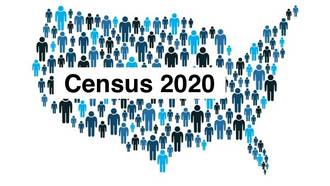 A picture of the united states for the 2020 Census. The map is created using people.